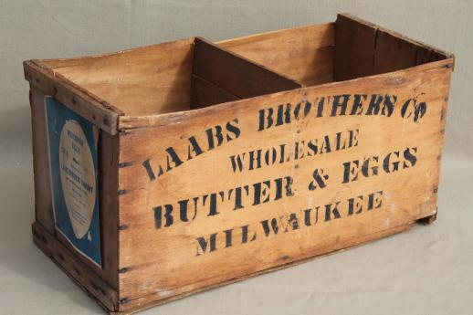 Antique wood box stenciled laabs milwaukee butter eggs for Old wooden box ideas