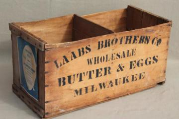 antique wood box stenciled Laabs Milwaukee butter & eggs, primitive vintage egg crate