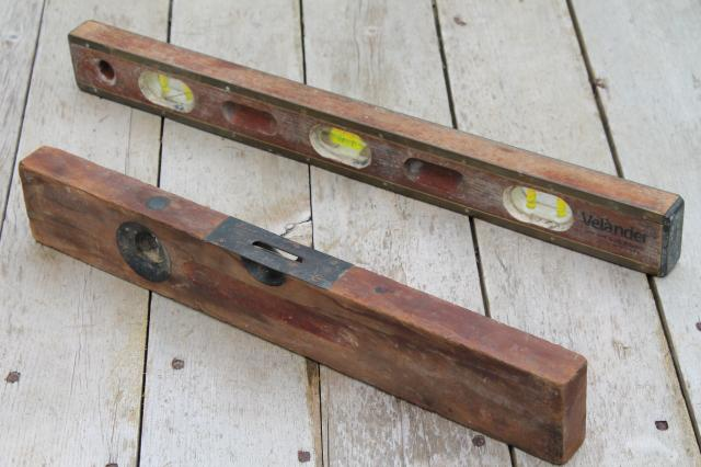 antique wood & brass levels, lot of 4 old carpentry tools Davis & Cook 1896 patent