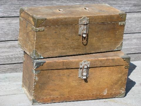 Antique Wood Carpenter S Tool Boxes Two Vintage Woodworking Tool Chests