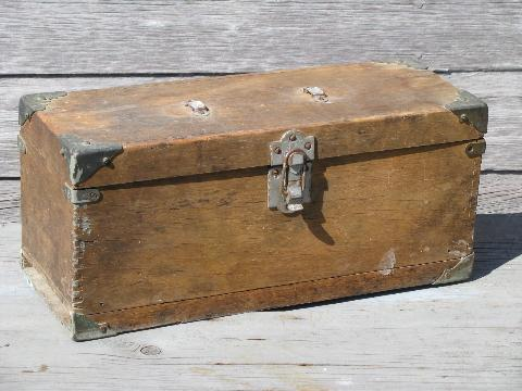 Antique Wood Carpenters Tool Boxes Two Vintage Woodworking Tool Chests