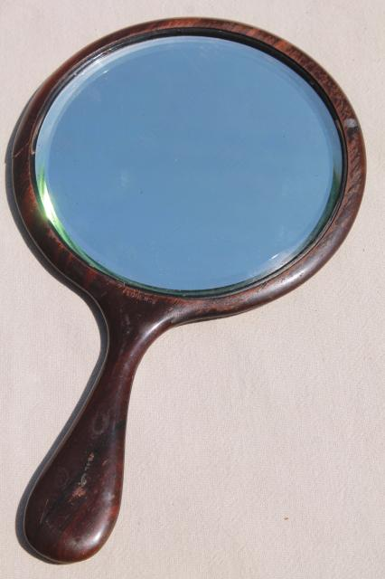 antique wood hand mirrors w/ beveled glass, plain & simple ...
