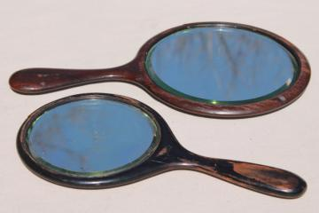 antique wood hand mirrors w/ beveled glass, plain & simple vintage wooden frames