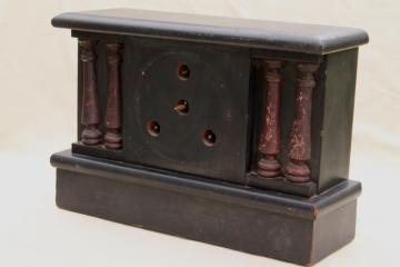 antique wood mantel clock case w/ partial mechanism, paper label Hammond W C Gilbert