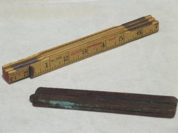 antique wood measures, brass bound folding scales, old advertising tool rulers