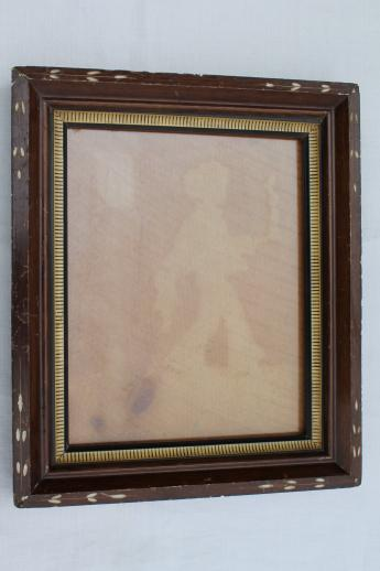 antique wood plank back picture frame w/ ghostly old silhouette image