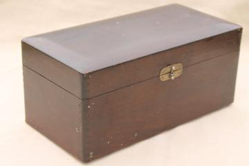 antique wood store display / salesman's sample case, finger jointed dovetailed wooden box