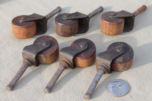 Antique Wood Wheel Casters Old Wood Caster Furniture Wheels Large