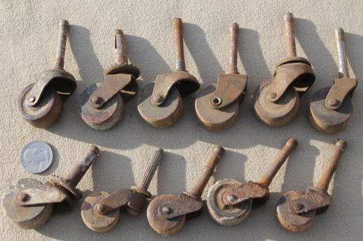 antique wood wheel casters, old wood caster furniture wheels, large lot of  40 - Wood Casters For Furniture Roselawnlutheran