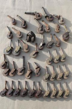 antique wood wheel casters, old wood caster furniture wheels, large lot of 40