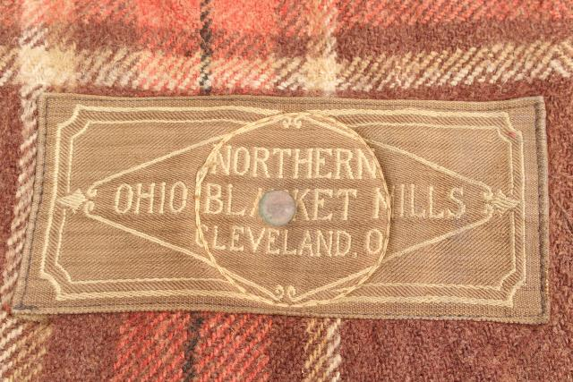 antique wool horse blanket w/ leather straps Cleveland Ohio Blanket Mills label