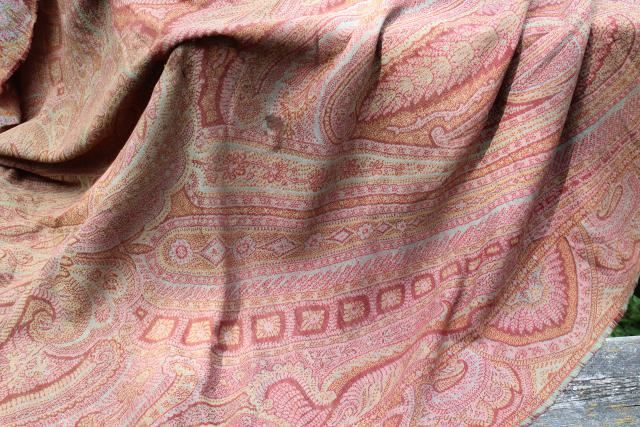 antique wool paisley shawl or table cover, damaged vintage textile fabric to repurpose