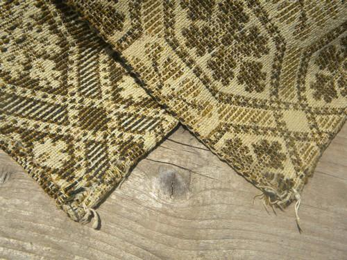 antique woven wool coverlet fabric, vintage pieced cloth parlor carpet rug