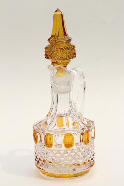 antique yellow stain glass cruet, EAPG vintage bottle & stopper, thumbprint pattern