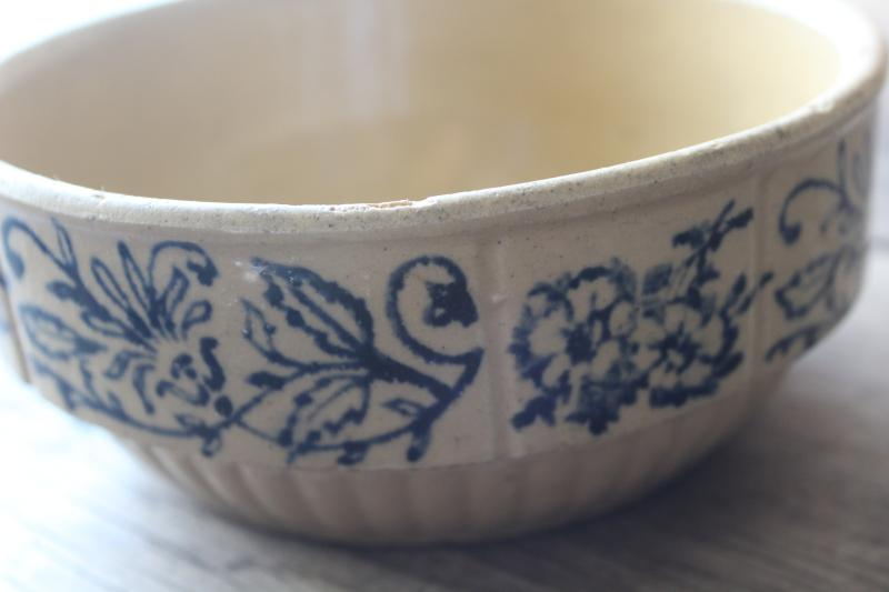 antique yellow ware bowl, stoneware crock pottery mixing bowl w/ blue flowered band