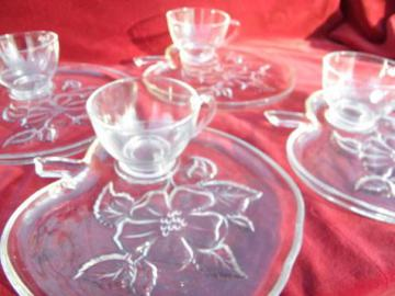 apple blossom pattern vintage glass snack sets, cups & plates
