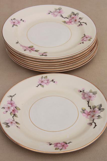 apple blossom vintage Homer Laughlin eggshell nautilus china set of 8 small plates & apple blossom vintage Homer Laughlin eggshell nautilus china set of ...