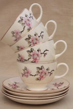 apple blossom vintage china tea cups & saucers Homer Laughlin eggshell nautilus