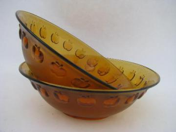 apple border amber glass salad bowl lot, newer bowls made in Indonesia