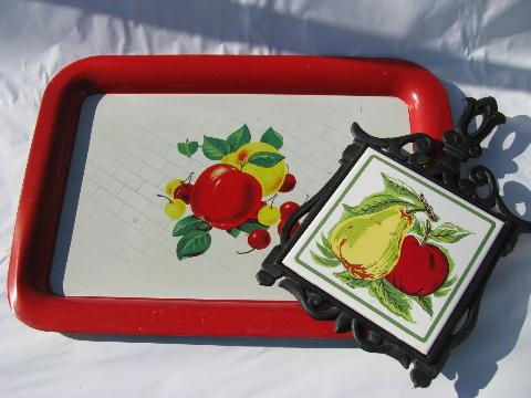 apple & pear, apples & cherries, vintage kitchen trivet & metal litho tray