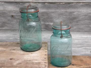 aqua blue Ball Ideal 1 qt storage jars or canisters w/1908 patent