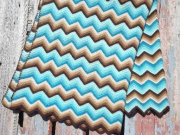 aqua / blue / brown, felted vintage crochet wool afghan throw blanket
