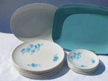 aqua blue cornflowers on white, retro 60s vintage melmac dinnerware lot