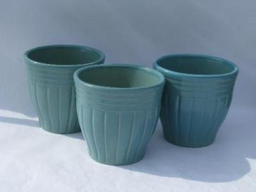 aqua blue country stoneware kitchen crocks lot, Robinson-Ransbottom pottery, Roseville O