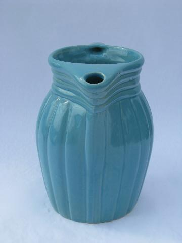 aqua blue country stoneware milk pitcher, Robinson-Ransbottom pottery, Roseville O
