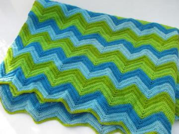 aqua / blue / green, retro vintage crocheted wool afghan throw, lap blanket