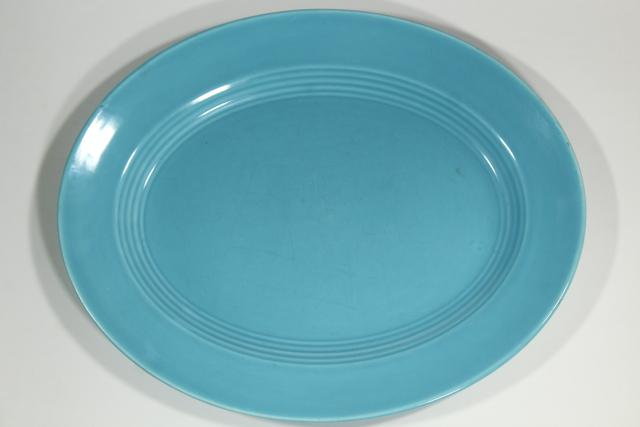 aqua blue turquoise ceramic platters, Homer Laughlin china mid-century mod vintage