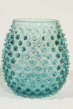 aqua hobnail glass tumbler or vase, vintage Fenton or Imperial glassware