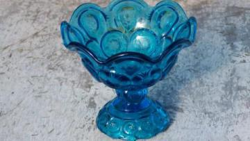 aquamarine blue moon and Stars glass vintage candy dish