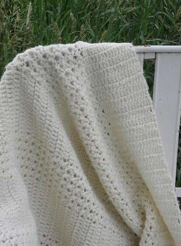 aran ivory handmade crocheted afghan, cream colored throw blanket