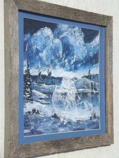 arge rustic board poster / picture frame, old weathered barn wood frame