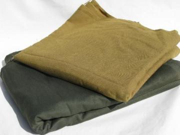 army drab green twill & khaki cotton / rayon shirting, retro vintage fabric lot