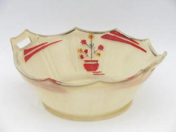 art deco 1920s - 30s vintage glass bowl, hand-painted red & ivory enamel