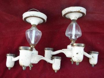 art deco 1930s vintage matched pair of ceiling fixtures, old electric light chandeliers