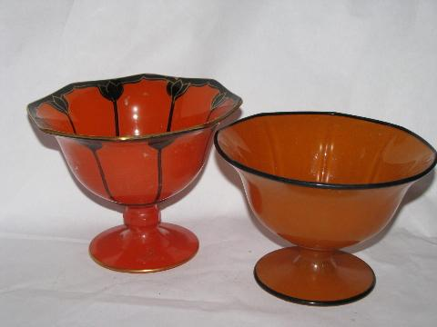 art deco 20s - 30s vintage painted enamel glass, candy