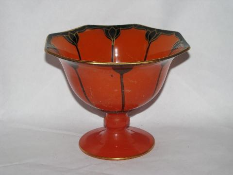 art deco 20s - 30s vintage painted enamel glass, candy