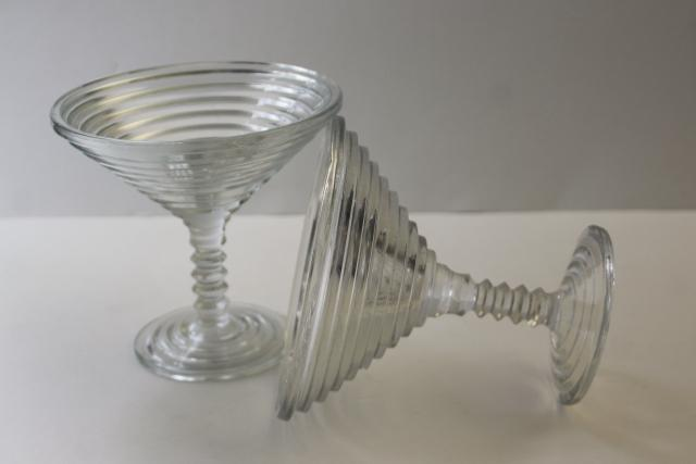 art deco Anchor Hocking Manhattan crystal clear glass compotes, big martini cocktail glasses!