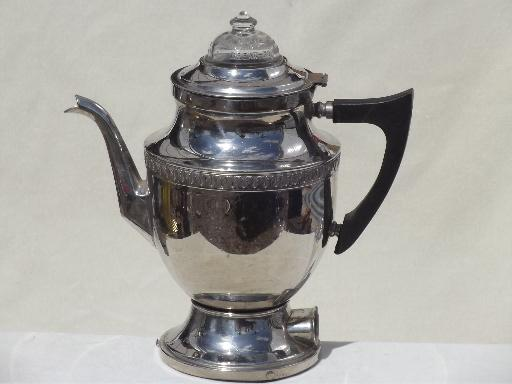 Antique Percolator Coffee Maker : art deco Royal Rochester coffee maker, vintage chrome coffee percolator