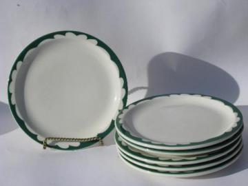 art deco airbrush green border, vintage white ironstone railroad china salad or lunch plates