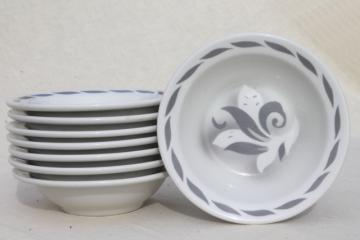 art deco airbrush grey & white ironstone soup bowls, vintage Jackson china restaurant ware