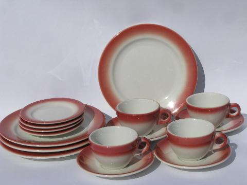 art deco airbrush red border, vintage white ironstone railroad china set for 4