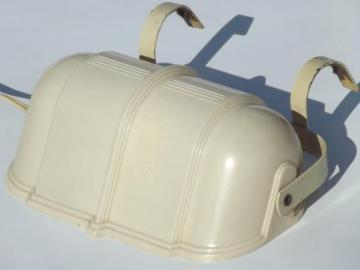 art deco bed light, vintage headboard reading lamp w/ ivory plastic shade