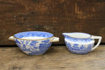 art deco blue willow china cream pitcher and sugar bowl set, vintage Staffordshire
