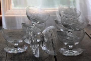 art deco glass sherbets with attached saucers, 1920s vintage needle etch Federal glass
