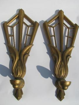 art deco gold fan candle sconces, pair vintage metal wall candleholders