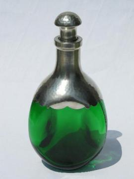 art deco hammered pewter overlay green glass liquor decanter bottle